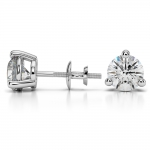 Three Prong Diamond Stud Earrings in White Gold (3 ctw) | Thumbnail 03