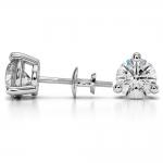 Three Prong Diamond Stud Earrings in White Gold (4 ctw)   Thumbnail 03