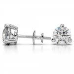 Three Prong Diamond Stud Earrings in White Gold (4 ctw) | Thumbnail 03