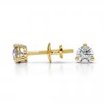 Three Prong Diamond Stud Earrings in Yellow Gold (1/4 ctw)   Thumbnail 03