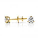Three Prong Diamond Stud Earrings in Yellow Gold (1/4 ctw) | Thumbnail 03