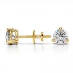 Three Prong Diamond Stud Earrings in Yellow Gold (3/4 ctw) | Thumbnail 03