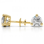 Three Prong Diamond Stud Earrings in Yellow Gold (4 ctw) | Thumbnail 03