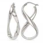 Twisted Infinity Hoop Earrings in Silver | Thumbnail 01