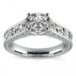 Antique Floral Solitaire Engagement Ring in Platinum | Thumbnail 01