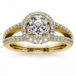 Halo Split Shank Diamond Engagement Ring in Yellow Gold | Thumbnail 01