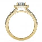 Halo Split Shank Diamond Engagement Ring in Yellow Gold | Thumbnail 02