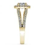 Halo Split Shank Diamond Engagement Ring in Yellow Gold | Thumbnail 03