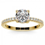 Scallop Diamond Engagement Ring in Yellow Gold (1/5 ctw) | Thumbnail 01