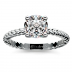 Twisted Rope Solitaire Engagement Ring in White Gold | Thumbnail 01