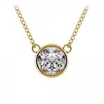 Bezel Diamond Solitaire Pendant in Yellow Gold (1 1/2 ctw) | Thumbnail 01