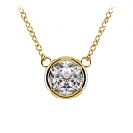 Bezel Diamond Solitaire Pendant in Yellow Gold (1 1/2 ctw) | Thumbnail 01