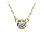 Bezel Diamond Solitaire Pendant in Yellow Gold (1/3 ctw) | Thumbnail 01