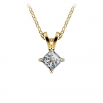 Princess Diamond Solitaire Pendant in Yellow Gold (1/3 ctw)  | Thumbnail 01