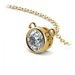 Bezel Diamond Solitaire Pendant in Yellow Gold (3/4 ctw) | Thumbnail 03