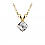Asscher Diamond Solitaire Pendant in Yellow Gold (1/5 ctw)  | Thumbnail 01