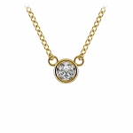 Bezel Diamond Solitaire Pendant in Yellow Gold (1/5 ctw) | Thumbnail 01