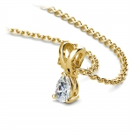 Pear Diamond Solitaire Pendant in Yellow Gold (1/5 ctw) | Thumbnail 03