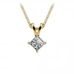 Princess Diamond Solitaire Pendant in Yellow Gold (1/5 ctw)  | Thumbnail 01