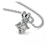 Asscher Diamond Solitaire Pendant in Platinum (1/5 ctw)  | Thumbnail 03