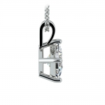 Asscher Diamond Solitaire Pendant in White Gold (1 1/2 ctw)  | Thumbnail 02