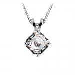 Asscher Diamond Solitaire Pendant in White Gold (1 ctw)  | Thumbnail 01