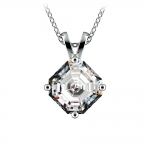 Asscher Diamond Solitaire Pendant in White Gold (2 ctw)  | Thumbnail 01