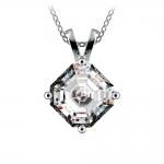 Asscher Diamond Solitaire Pendant in White Gold (3 ctw)  | Thumbnail 01