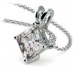 Asscher Diamond Solitaire Pendant in White Gold (3 ctw)  | Thumbnail 03