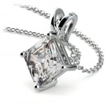 Asscher Diamond Solitaire Pendant in White Gold (3 ctw)  | Thumbnail 03