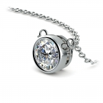 Bezel Diamond Solitaire Pendant in Platinum (1 ctw) | Thumbnail 03