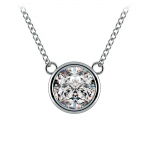 Bezel Diamond Solitaire Pendant in Platinum (2 ctw) | Thumbnail 01