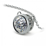 Bezel Diamond Solitaire Pendant in Platinum (2 ctw) | Thumbnail 03