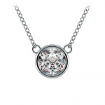 Bezel Diamond Solitaire Pendant in White Gold (1 1/2 ctw) | Thumbnail 01