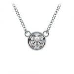 Bezel Diamond Solitaire Pendant in White Gold (1/2 ctw) | Thumbnail 01