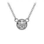 Bezel Diamond Solitaire Pendant in White Gold (1/2 ctw) | Thumbnail 01