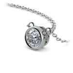 Bezel Diamond Solitaire Pendant in White Gold (1/2 ctw) | Thumbnail 03