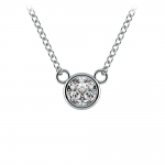Bezel Diamond Solitaire Pendant in White Gold (1/3 ctw) | Thumbnail 01
