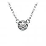 Bezel Diamond Solitaire Pendant in White Gold (1/3 ctw) | Thumbnail 01
