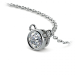Bezel Diamond Solitaire Pendant in White Gold (1/3 ctw) | Thumbnail 03