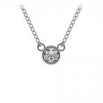 Bezel Diamond Solitaire Pendant in White Gold (1/5 ctw) | Thumbnail 01