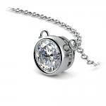 Bezel Diamond Solitaire Pendant in White Gold (1 ctw) | Thumbnail 03