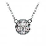 Bezel Diamond Solitaire Pendant in White Gold (2 ctw) | Thumbnail 01