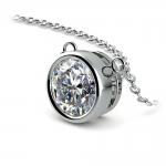 Bezel Diamond Solitaire Pendant in White Gold (2 ctw) | Thumbnail 03