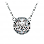 Bezel Diamond Solitaire Pendant in White Gold (3 ctw) | Thumbnail 01