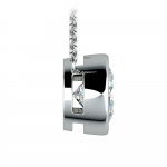 Bezel Diamond Solitaire Pendant in White Gold (3 ctw) | Thumbnail 02