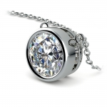 Bezel Diamond Solitaire Pendant in White Gold (3 ctw) | Thumbnail 03