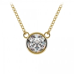 Bezel Diamond Solitaire Pendant in Yellow Gold (1 ctw) | Thumbnail 01