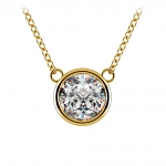Bezel Diamond Solitaire Pendant in Yellow Gold (2 ctw) | Thumbnail 01