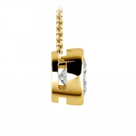 Bezel Diamond Solitaire Pendant in Yellow Gold (2 ctw) | Thumbnail 02